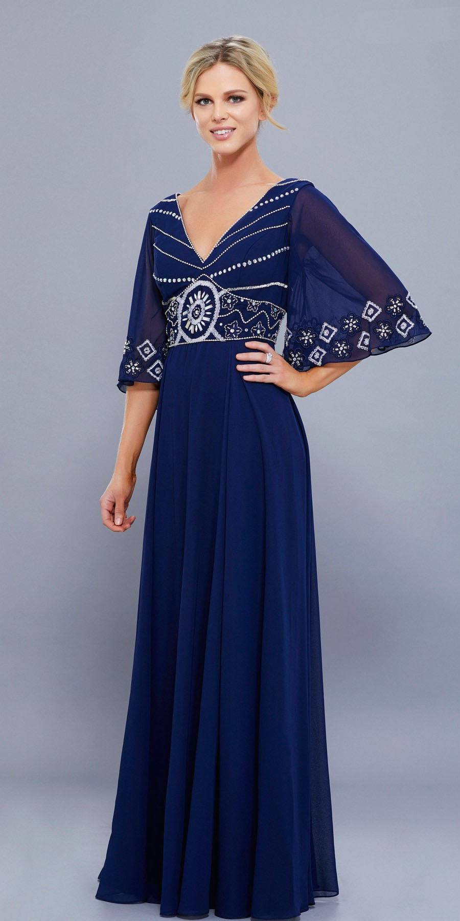 Navy Blue Empire-Waist Flutter Sleeves A-Line Floor Length Dress ...