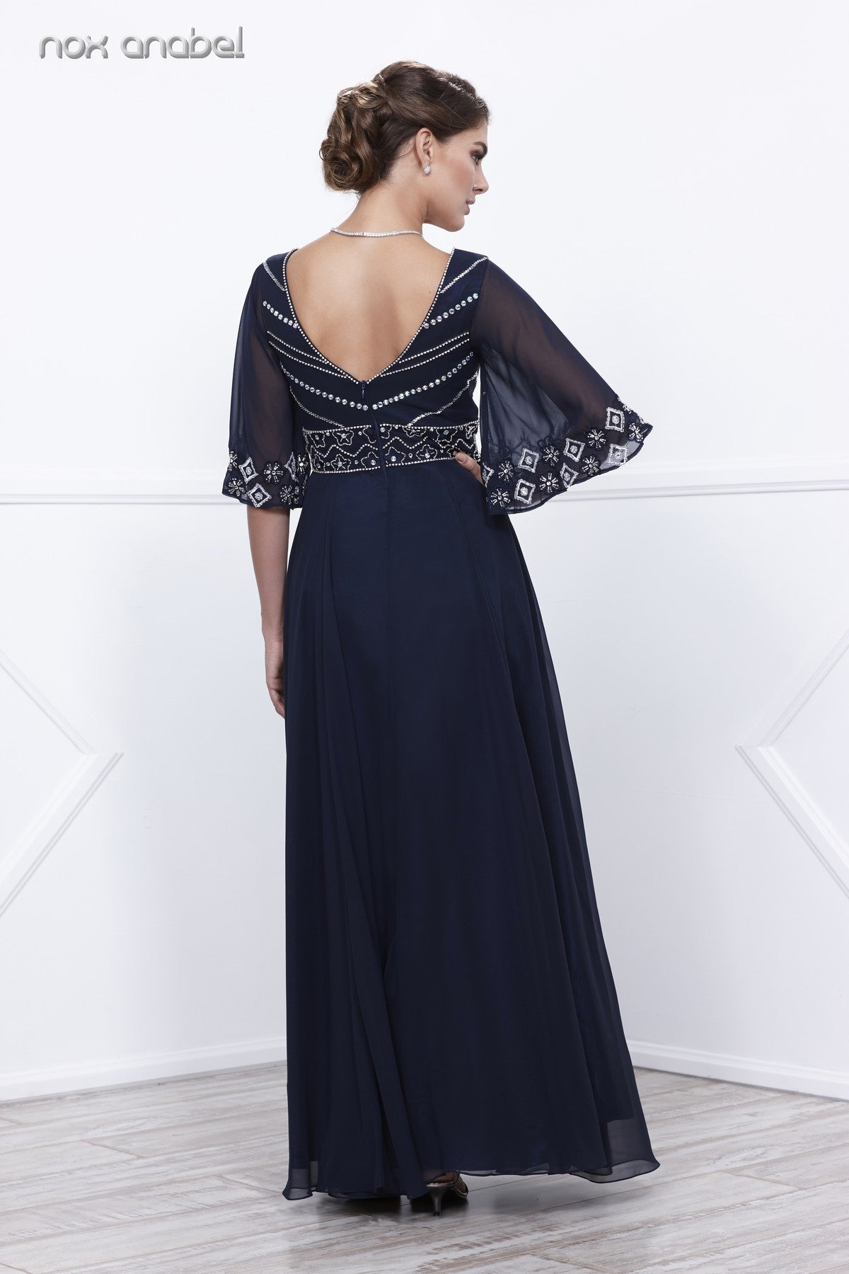 Navy Blue Empire-Waist Flutter Sleeves  A-Line Floor Length Dress Back View