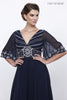 Navy Blue Empire-Waist Flutter Sleeves  A-Line Floor Length Dress