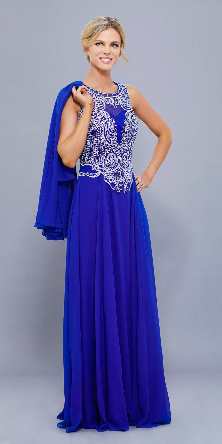 Nox Anabel 5148 Silver Embroidered Bodice Floor Length Formal Dress ...