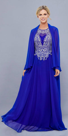 Royal Blue Embroidered Bodice Floor Length Formal Dress with Jacket