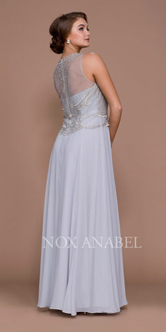 Nox Anabel 5148 Silver Embroidered Bodice Floor Length Formal Dress with Jacket