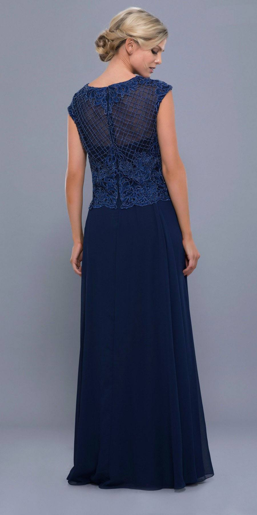 Cap Sleeves Embellished Bodice A-Line Formal Dress Navy Blue with Jacket