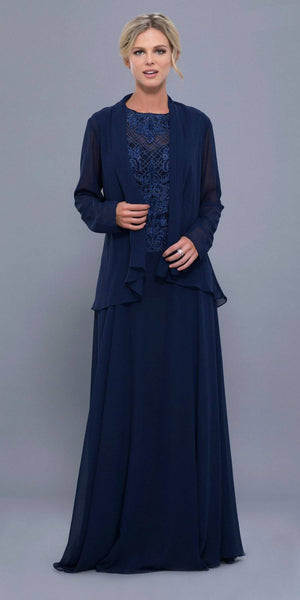Nox Anabel 5149 Cap Sleeves Embellished Bodice A-Line Formal Dress Navy Blue with Jacket