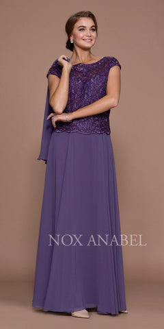 Nox Anabel 5149 Cap Sleeves Embellished Bodice A-Line Formal Dress Violet with Jacket