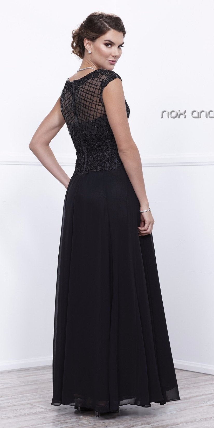 Cap Sleeves Embellished Bodice A-Line Formal Dress Black with Jacket Back View