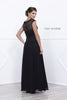 Nox Anabel 5149 Cap Sleeves Embellished Bodice A-Line Formal Dress Black with Jacket Back View