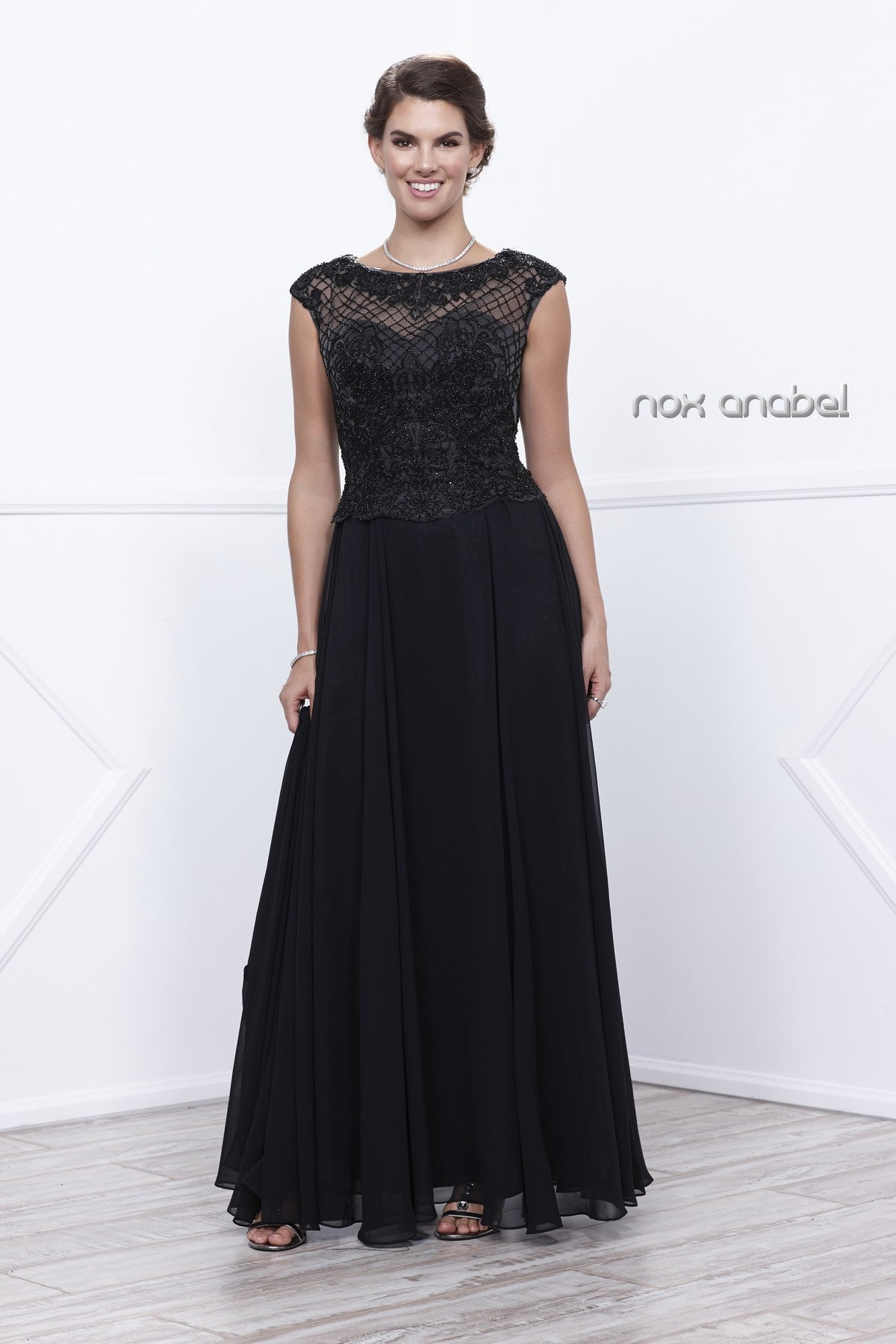 Cap Sleeves Embellished Bodice A-Line Formal Dress Black with Jacket