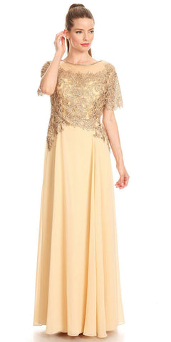 Cap Sleeves Appliqued Bodice Gold Chiffon Formal Dress Long