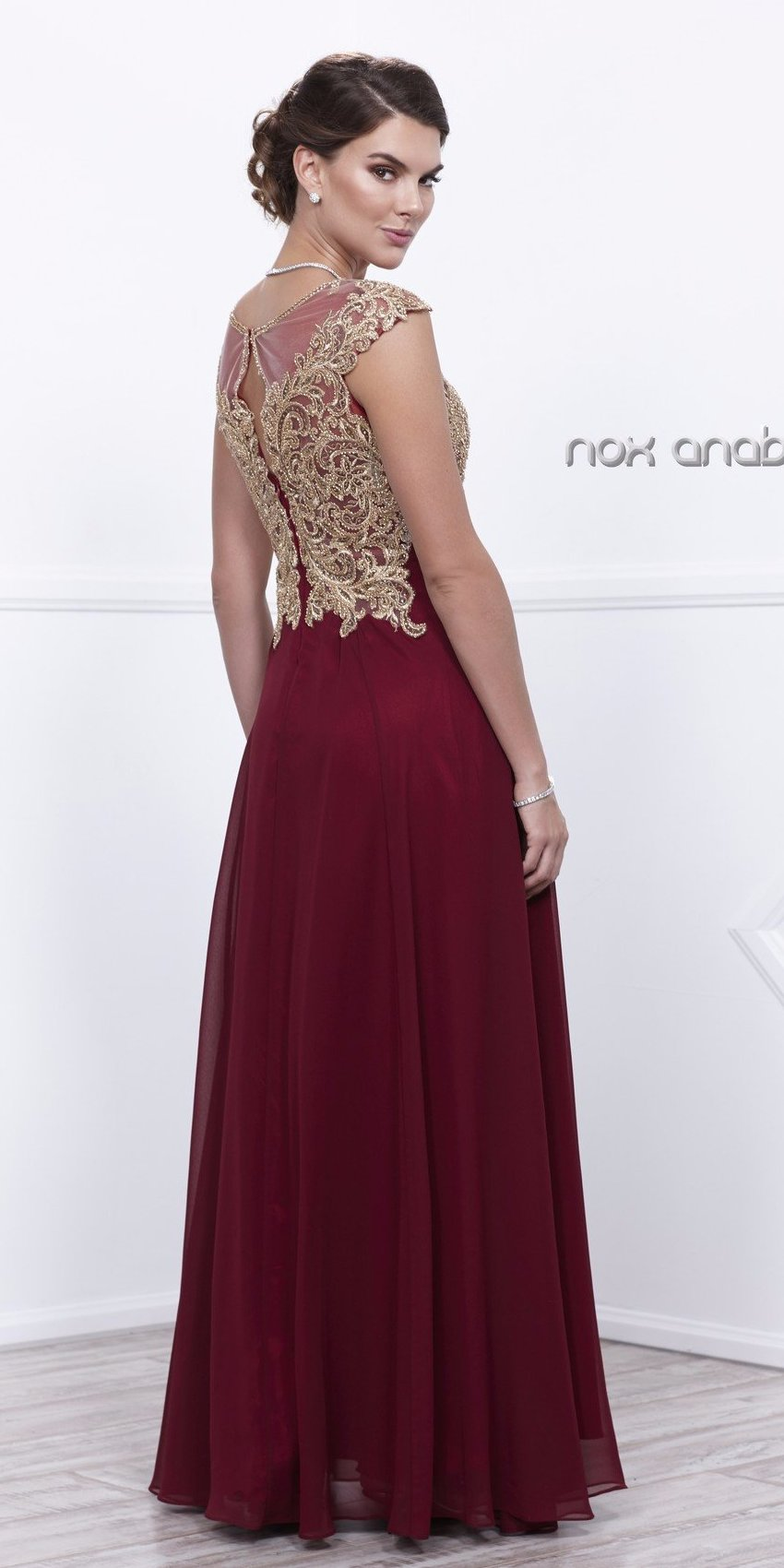 Cap Sleeves Appliqued Bodice Burgundy Chiffon Formal Dress Long Back View