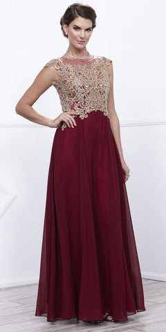 Cap Sleeves Appliqued Bodice Burgundy Chiffon Formal Dress Long