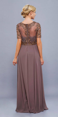 Brown Embroidered Long Chiffon Formal Dress Sleeveless