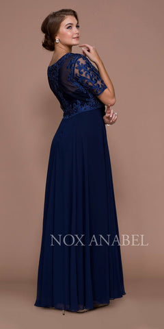 Nox Anabel 5151 Navy Blue Embroidered Long Chiffon Formal Dress Sleeveless Back View