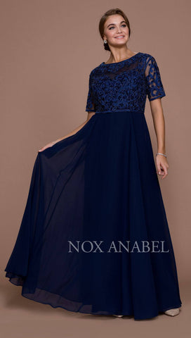 Nox Anabel 5151 Navy Blue Embroidered Long Chiffon Formal Dress Sleeveless