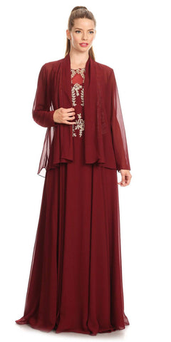 Burgundy Chiffon Appliqued Sleeveless Long Gown with Matching Jacket