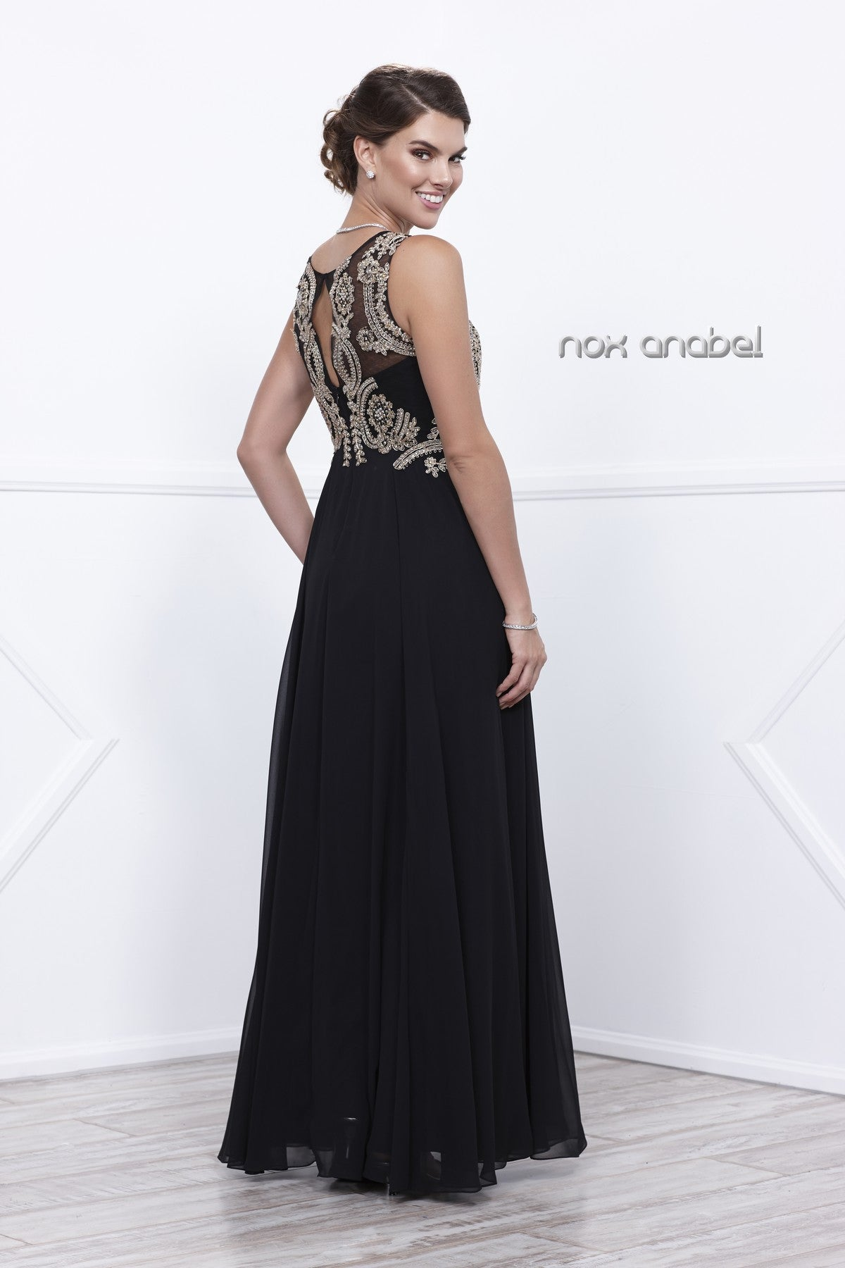Black Chiffon Appliqued Sleeveless Long Gown with Matching Jacket Back View