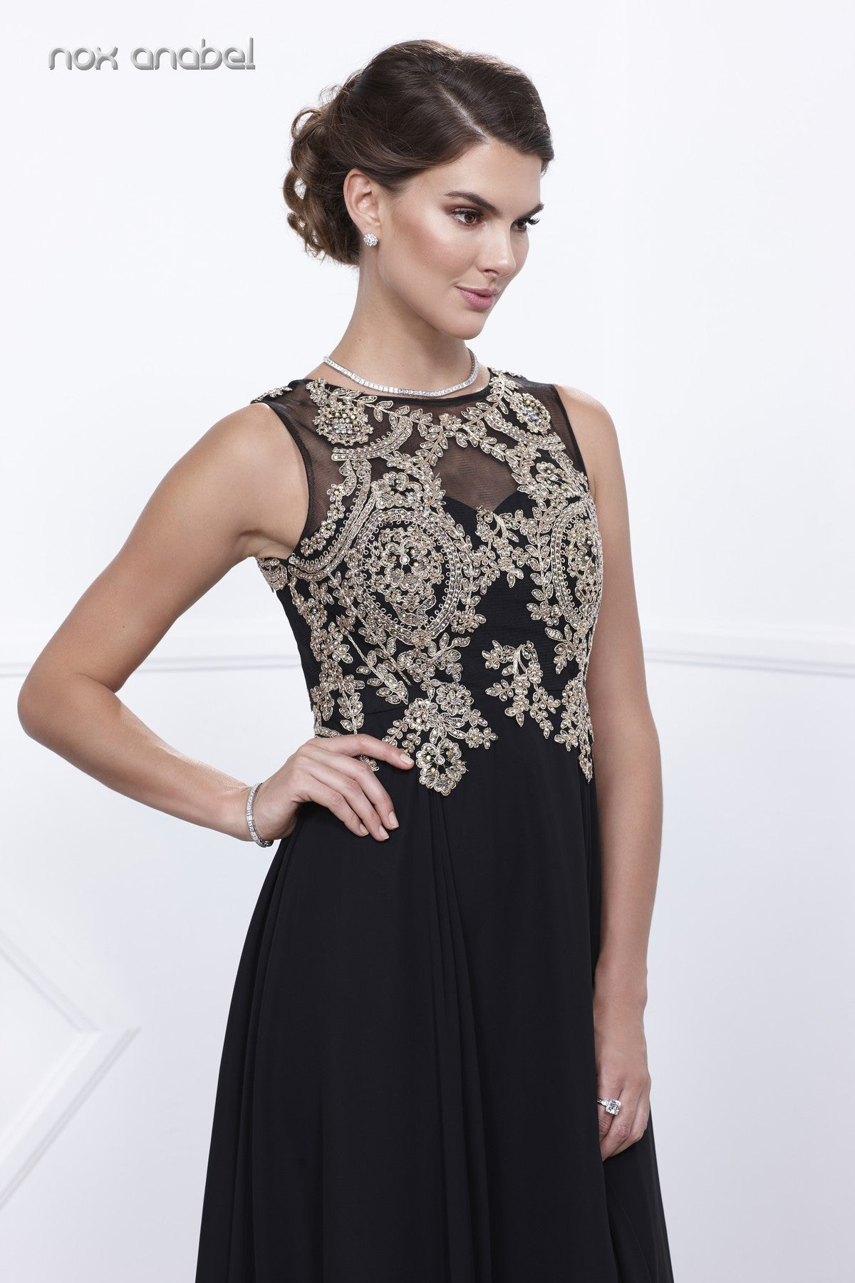 Black Chiffon Appliqued Sleeveless Long Gown with Matching Jacket