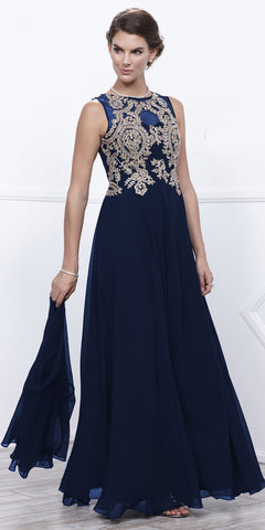 Navy Chiffon Appliqued Sleeveless Long Gown with Matching Jacket