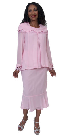 Hosanna 5159 Plus Size 3 Piece Set Pink Ankle Length Dress