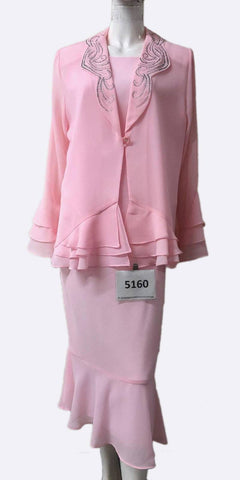 Hosanna 5160 Plus Size 3 Piece Set Pink Tea Length Dress