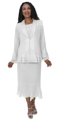 Hosanna 5160 Plus Size 3 Piece Set White Tea Length Dress