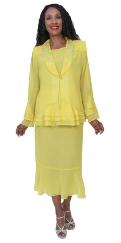 Hosanna 5160 Plus Size 3 Piece Set Yellow Tea Length Dress