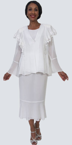 Hosanna 5162 - Plus Size Tea Length White Dress 3 Piece Jacket
