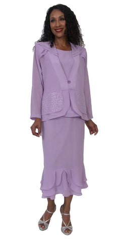 Hosanna 5165 Plus Size 3 Piece Set Lilac Tea Length Dress