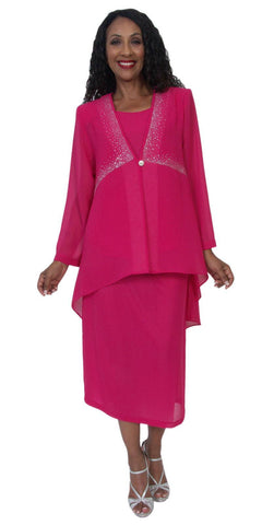 Hosanna 5170 Plus Size 3 Piece Set Fuchsia Ankle Length Dress