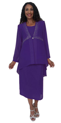 Hosanna 5170 Plus Size 3 Piece Set Purple Ankle Length Dress