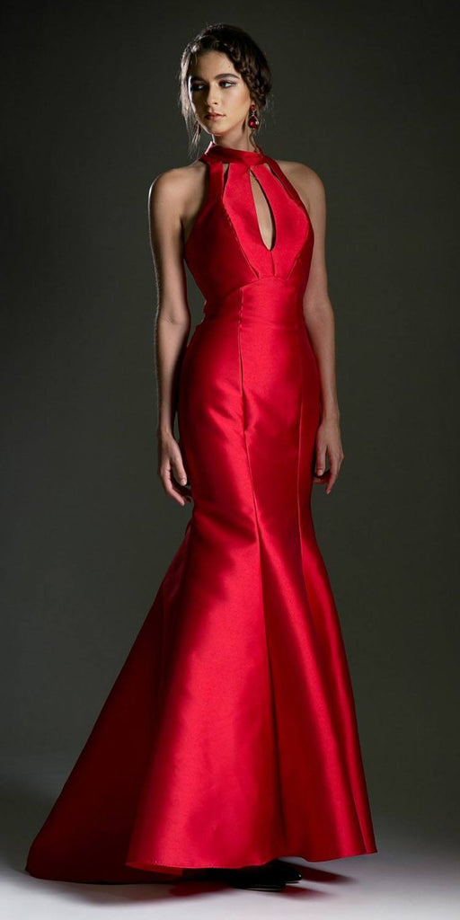 High Neck Red Mermaid Prom Gown with Cut-Outs and Ruffles