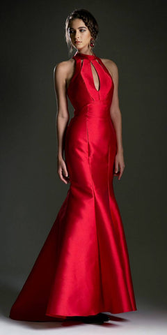 Strapless Tiered Mermaid Long Prom Dress Embroidered Red