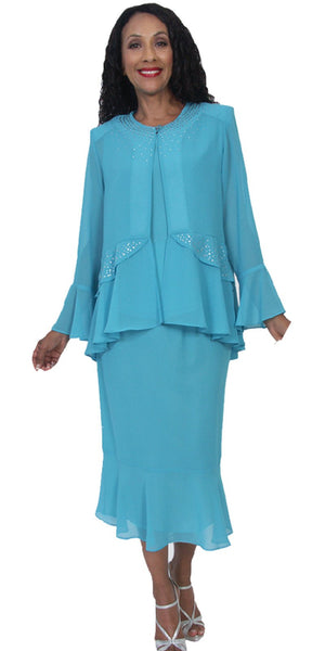 Hosanna 5172 Plus Size 3 Piece Set Aqua Tea Length Dress