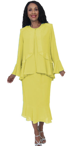 Hosanna 5172 Plus Size 3 Piece Set Yellow Tea Length Dress