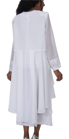 Hosanna 5174 Plus Size 3 Piece Set White Tea Length Lace Dress