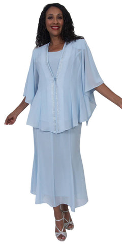 Hosanna 5175 Plus Size 3 Piece Set Baby Blue Tea Length Dress