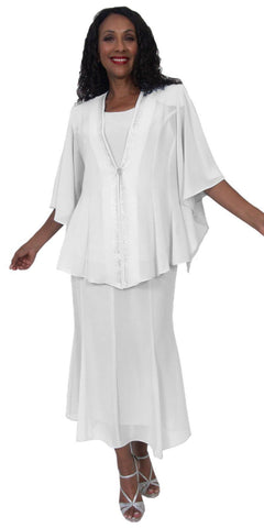 Hosanna 5175 Plus Size 3 Piece Set White Tea Length Dress