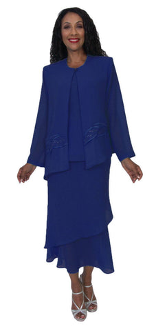 Hosanna 5189 Plus Size 3 Piece Set Navy Blue Tea Length Dress