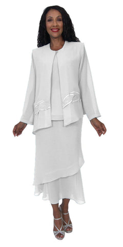 Hosanna 5189 Plus Size 3 Piece Set White Tea Length Dress