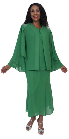 Hosanna 5190 Plus Size 3 Piece Set Kelly Green Tea Length Dress