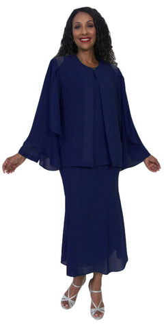 Hosanna 5190 Plus Size 3 Piece Set Navy Blue Tea Length Dress