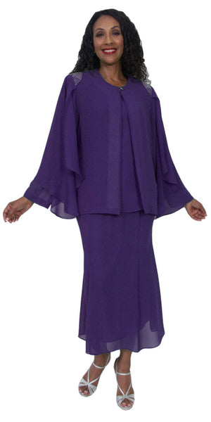 Hosanna 5190 Plus Size 3 Piece Set Purple Tea Length Dress