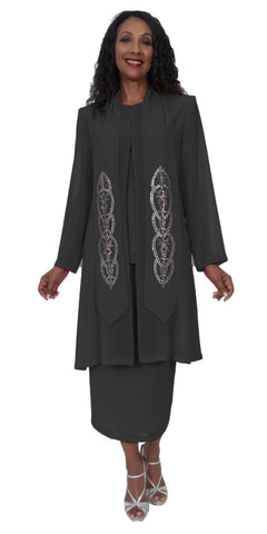 Hosanna 5192 Plus Size 3 Piece Set Black Tea Length Lace Dress