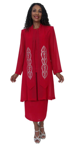 Hosanna 5192 Plus Size 3 Piece Set Red Tea Length Lace Dress