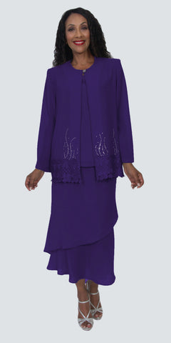 Hosanna 5195 Plus Size 3 Piece Set Purple Tea Length Dress
