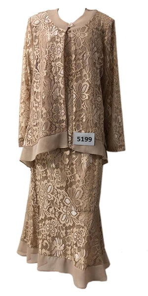 Hosanna 5199 - Tea Length Plus Size Taupe Lace Dress 3 Piece Set