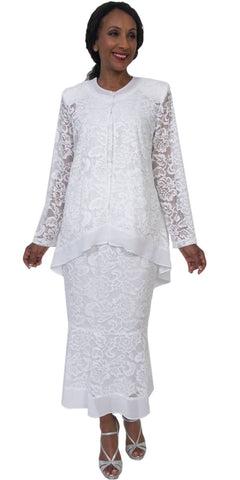 Hosanna 5199 - Tea Length Plus Size White Lace Dress 3 Piece Set
