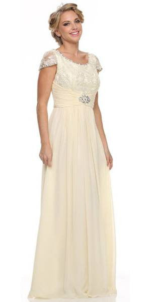 Mother of Bride Long Chiffon Ivory Dress Lace Top Round Neck