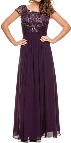 Mother of Bride Long Chiffon Plum Dress Lace Top Round Neck