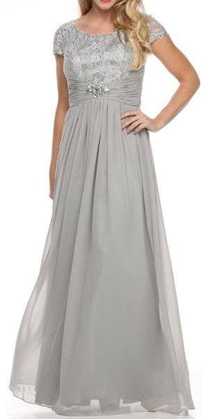 Mother of Bride Long Chiffon Silver Dress Lace Top Round Neck